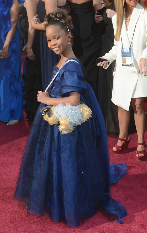 . Quvenzhané Wallis arrives at the 85th Academy Awards at the Dolby Theatre in Los Angeles, California on Sunday Feb. 24, 2013 ( Hans Gutknecht, staff photographer)