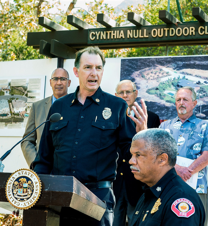 Description of . LA Fire Chief John Todd speaking at wildfire prevention news conference at Eaton Canyon Nature Center in Pasadena Friday, June 20, 2014. Assemblymember Chris Holden (D-Pasadena) LA County Supervisor Michael Antonovich, Pasadena Fire Calvin Wells, and JPL/NASA Climatologist Bill Patzert present at news conference. This summer season starts Saturday and may be even more fiery than usual, climatologists say. After years of drought, a warmer-than-average fall, winter and spring with 40 percent less rain this year, the Southland could be in for an especially scorching fire season. (Photo by Walt Mancini/Pasadena Star-News)