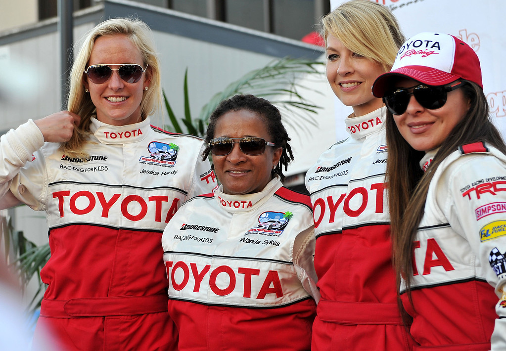 . 4/19/13 - Celebrities gather on stage after  the qualifying round of the Toyota Pro/Celebrity race at the 39th Annual Toyota Grand Prix of Long Beach. Photo by Brittany Murray / Staff Photographer