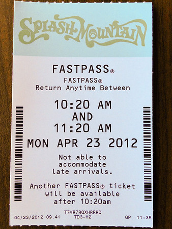 Splash Mountain FastPass
