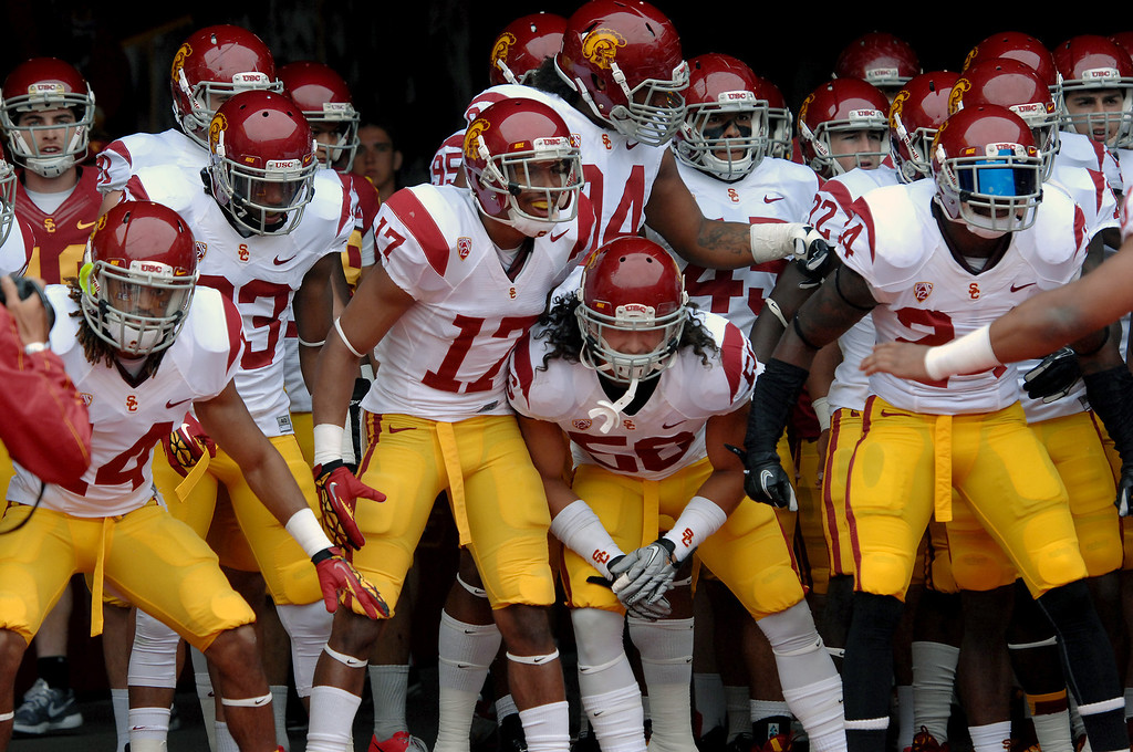 . USC get ready to come on the field for their Spring Football Game. (Michael Owen Baker/Staff Photographer)