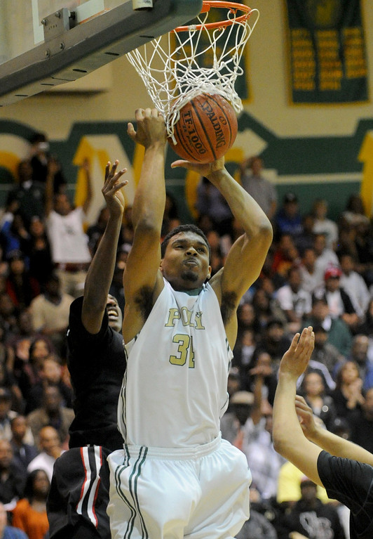 . 02-26-2012--(LANG Staff Photo by Sean Hiller)-Etiwanda beat Long Beach Poly 59-55 in Tuesday\'s CIF Southern Section Division 1AA semifinal boys basketball game at Long Beach Poly High School. Josh Jackson in the first half.
