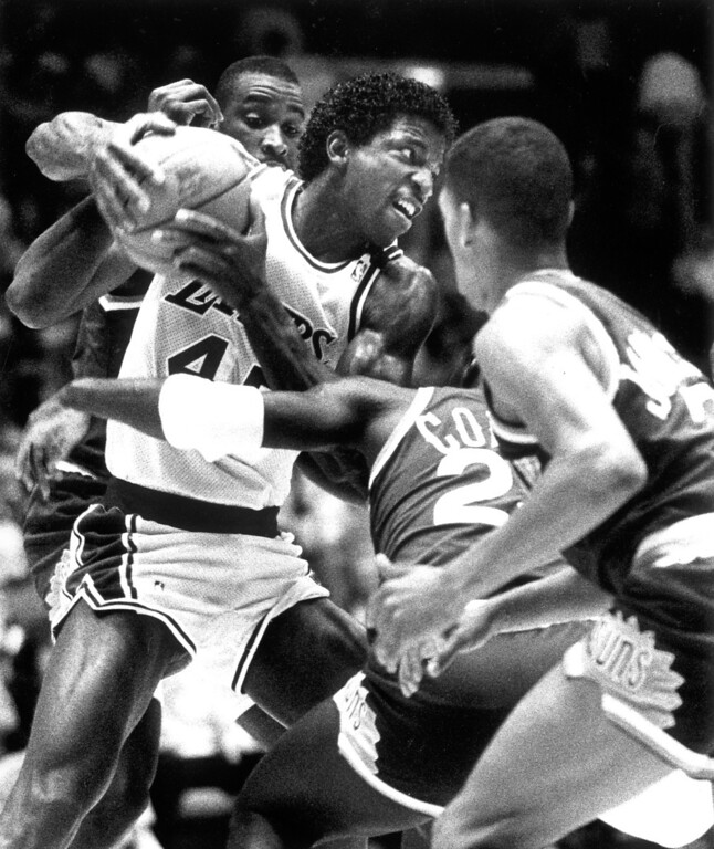 . 1989: Lakers\' A.C. Green battles for possession.  Daily News file photo