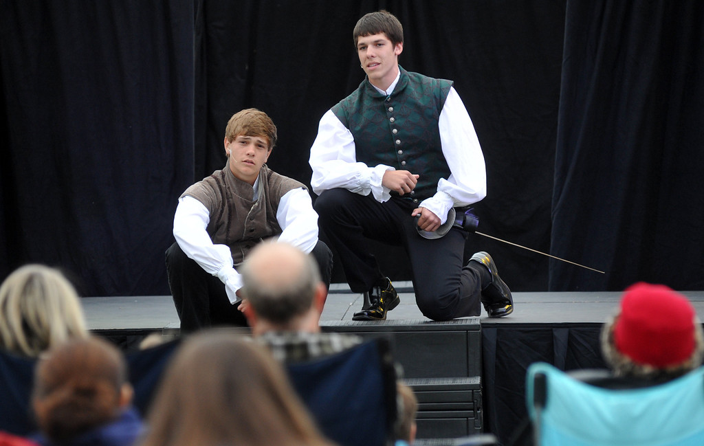 ". Students perform ""Much Ado About Nothing\"" during the Shakespeare Festival at Whittier Christian High School in La Habra on Wednesday April 24, 2013. The festival included food booths, crafts, juggling, music and an open air performance on the lawn. (SGVN/Staff Photo by Keith Durflinger)"