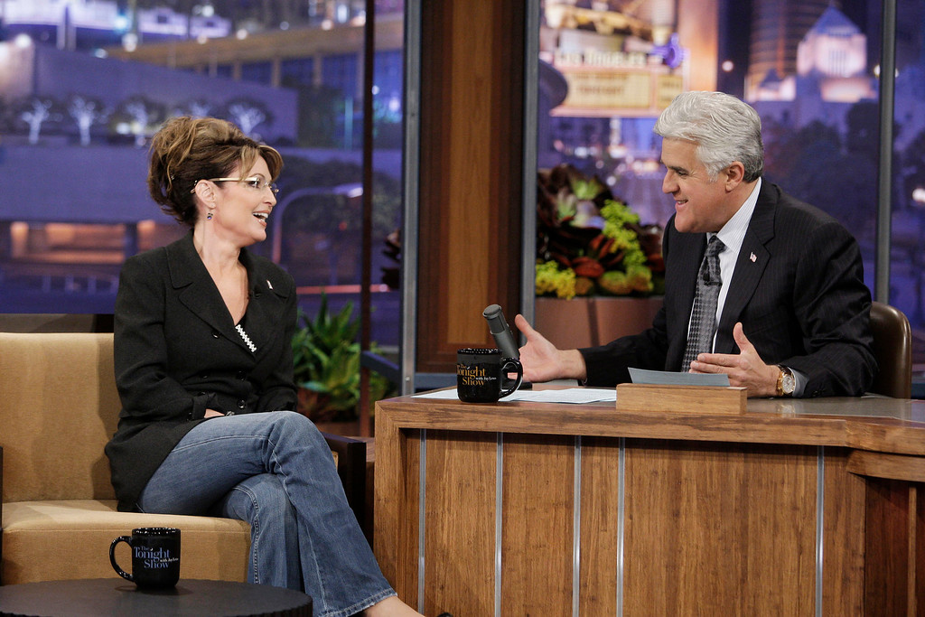 ". In this image released by NBC, former Republican vice presidential nominee Sarah Palin is shown during an interview with host Jay Leno on ""The Tonight Show with Jay Leno,\"" Tuesday, March 2, 2010, in Burbank, Calif. (AP Photo/NBC, Paul Drinkwater)"