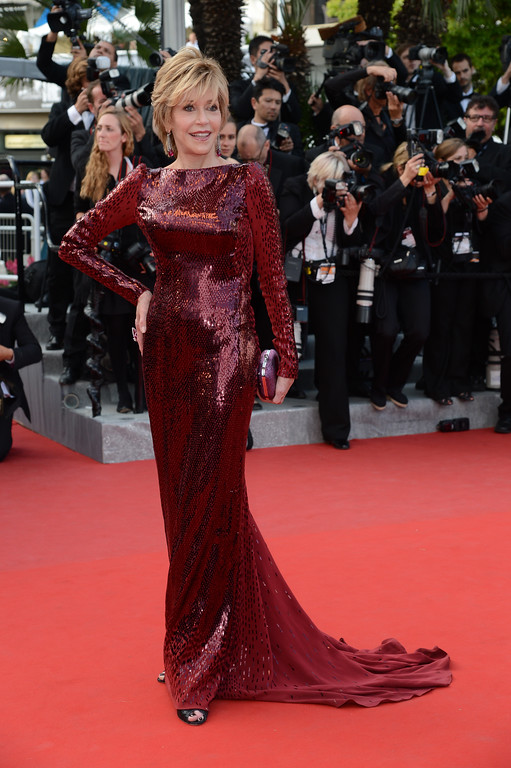 ". US actress Jane Fonda arrives for the screening of ""Madagascar 3 Europe\'s Most Wanted\"" presented out of competition at the 65th Cannes film festival on May 18, 2012 in Cannes.  (ANNE-CHRISTINE POUJOULAT/AFP/GettyImages)"
