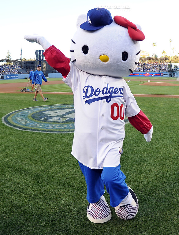 . Hello Kitty poses for pictures prior to a baseball game between the San Diego Padres and the Los Angeles Dodgers on Wednesday, April 17, 2013 in Los Angeles.   (Keith Birmingham/Pasadena Star-News)