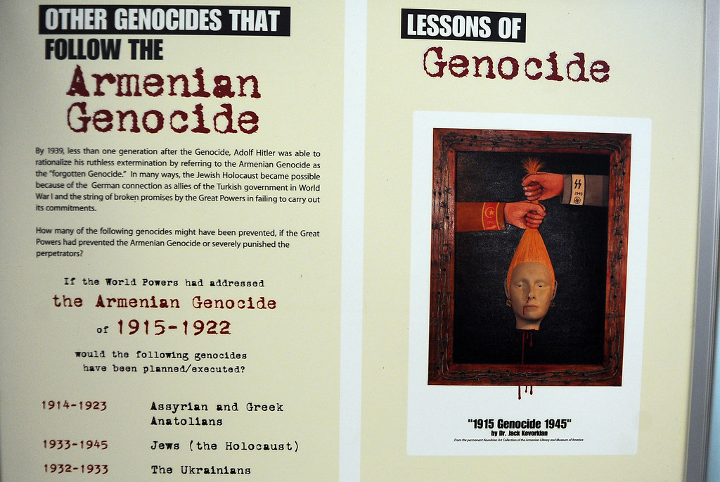 Description of . A traveling Armenian Genocide display at the Montebello City Hall on Wednesday, April 10, 2012 in Montebello, Calif. It is the 98th anniversary of the genocide, which occurred between 1915-1923.   (Keith Birmingham/Pasadena Star-News)