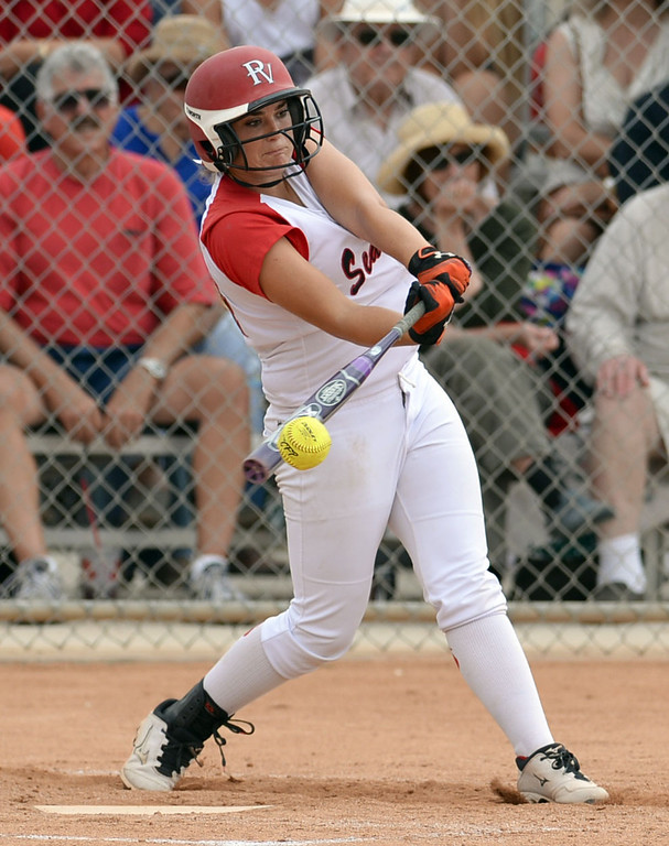 . Palos Verdes\' Kasey Halleen (34) connects for a single against St. Paul in a CIF-SS Division III semifinal softball game Tuesday, May 27, 2014, Palos Verdes Estates, CA.   Palos Verdes offense stalled and  lost 10-0. Photo by Steve McCrank/Daily Breeze