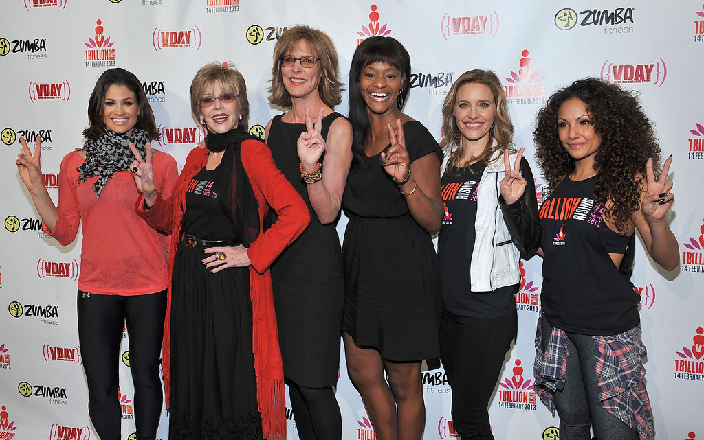 . LOS ANGELES, CA - FEBRUARY 14:  Professional wrestler Eve Torres, actress Jane Fonda, actress Christine Lahti, actress Sufe Bradshaw, actres KaDee Strickland and Zumba celebrity instructor Gina Grant attend One Billion Rising-Rise with V-Day and Zumba Fitness, One Billion Rising, a Global Day of Action to End Violence against Women and celebrate V-Day\'s 15th Anniversary at LA Live on February 14, 2013 in Los Angeles, California.  (Photo by Angela Weiss/Getty Images for V-Day.org)