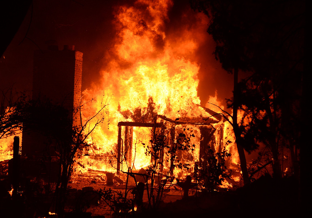 . The Powerhouse Fire engulfs one of several homes as firefighters battled the blaze into a fourth day early Sunday, June 2, 2013, in the Angeles National Forest near the Lake Hughes area. (Gene Blevins/L.A. Daily News)