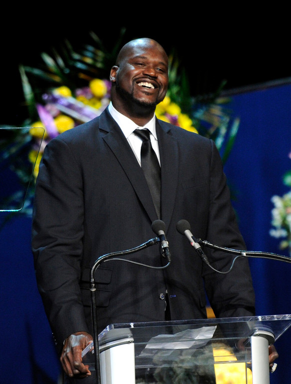 . Shaquille O\'Neal speaks at the Jerry Buss Memorial Service at Nokia Theatre, Thursday, February 21, 2013. (Michael Owen Baker/Staff Photographer)