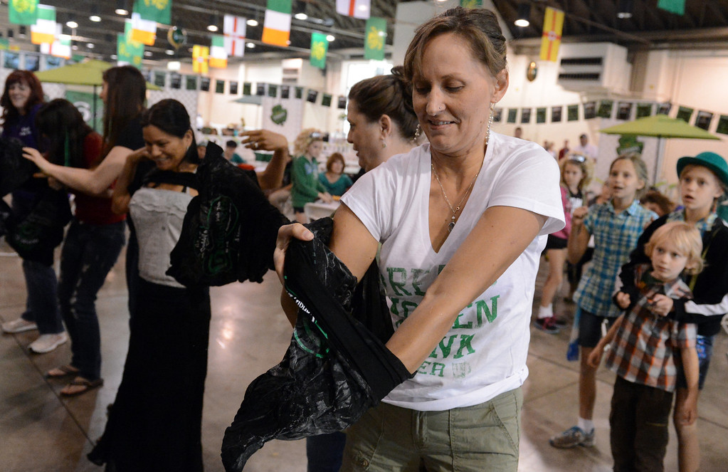 . Becky Wells, of Upland, tries her luck at a frozen t-shirt contest at the 11th annual Los Angeles County Irish Fair and Celtic Music Festival at the Fairplex in Pomona March 10, 2013. (Thomas R. Cordova/Staff Photographer)