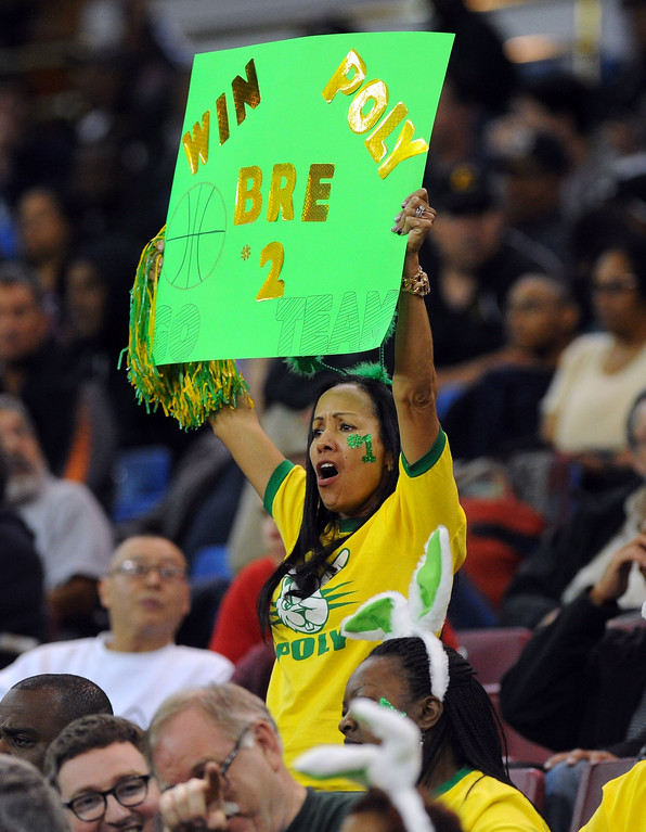 . A Poly fan cheers on #2 Briana Johnson at Sleep Train Arena in Sacramento, CA on Saturday, March 29, 2014. Long Beach Poly vs Salesian in the CIF Open Div girls basketball state final. 2nd half. Poly won 70-52. (Photo by Scott Varley, Daily Breeze)
