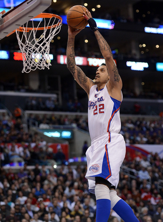 . The Clippers\' Matt Barnes #22 dunks the ball during their game against the Spurs at the Staples Center in Los Angeles Friday, February  21, 2013. The Spurs beat the Clippers 116-90. (Hans Gutknecht/Staff Photographer)