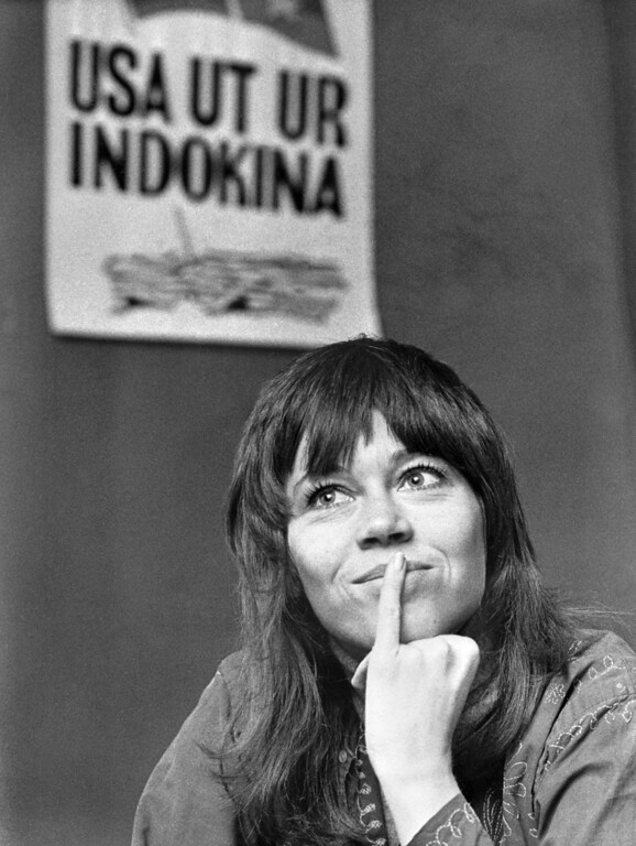 . STOCKHOLM, SWEDEN:  Jane Fonda, American actress and peace activist, addresses media 20 December 1972 in Stockholm during a press conference protesting United States military involvement in the Vietnam war. (Photo credit should read AFP/Getty Images)