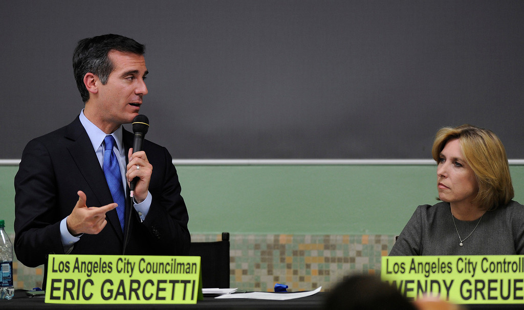. Mayoral candidates Eric Garcetti speaks during the debate with Wendy Greuel at Notre Dame High School, Wednesday, April 17, 2013. (Michael Owen Baker/Staff Photographer)