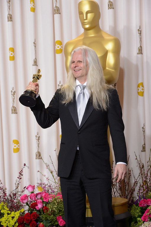 """. Claudio Miranda accepts the award for best cinematography for \""""Life of Pi\""""  backstage at the 85th Academy Awards at the Dolby Theatre in Los Angeles, California on Sunday Feb. 24, 2013 ( David Crane, staff photographer)"""