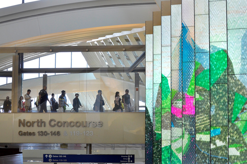 . Colorful video display greet passengers. At LAX, dignitaries gathered to open the new Tom Bradley International Terminal. (Wed. Sept 18, 2013 Photo by Brad Graverson/The Daily Breeze