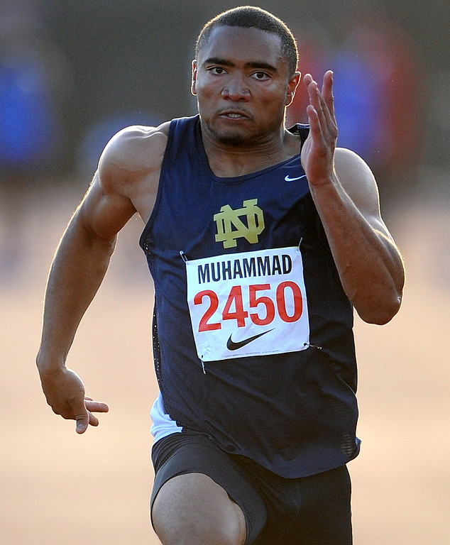 Description of . Notre Dame's Khalfani Muhammad won the 100 meter Dash Invitational with a time of 10.46 during the Arcadia Invitational at Arcadia High School on Saturday, April 6, 2013 in Arcadia, Calif.  (Keith Birmingham Pasadena Star-News)