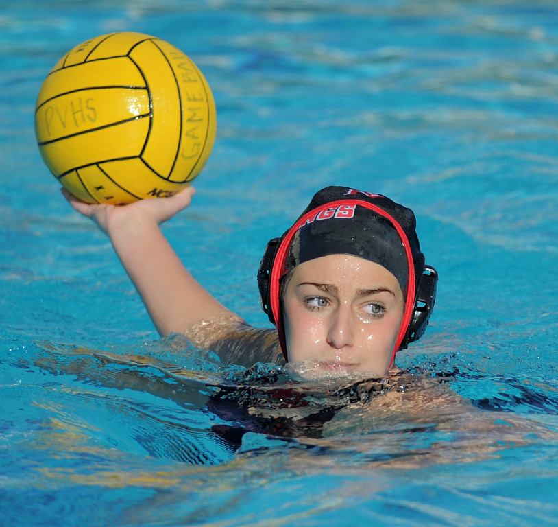 . 02-16-2012--(LANG Staff Photo by Sean Hiller)- Palos Verdes girls water polo defeated Upland 10-8 in Saturday\'s CIF Southern Section Division III quarterfinal at Palos Verdes High School. PV\'s Tara Leeds looks to pass.