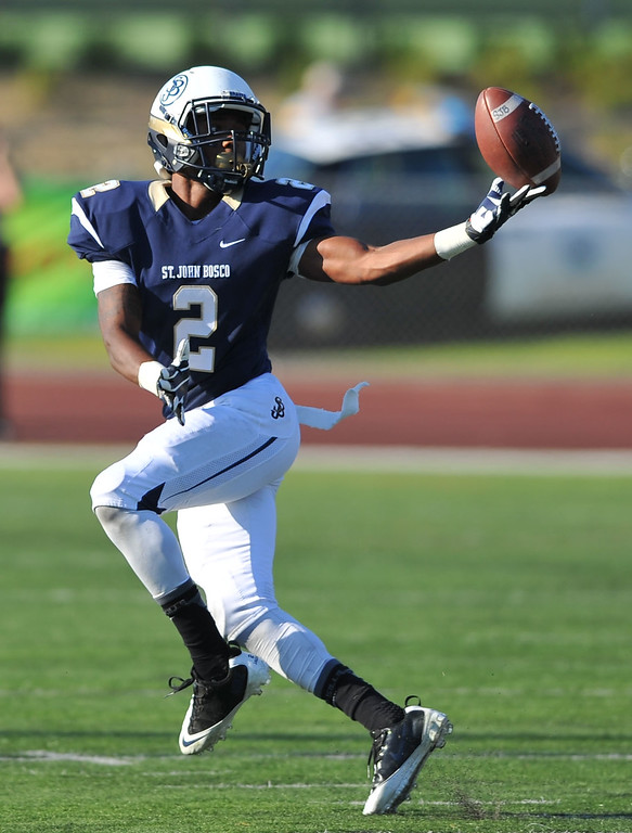 . St. John Bosco football takes on Chandler, Airzona as part of the Mission Viejo Classic in Mission Viejo, CA on Saturday, September 14, 2013. St. John Bosco won 52-31.  Bosco\'s Jaleel Wadood bobbles a pass to him and was unable to complete it. (Photo by Scott Varley, Press-Telegram)
