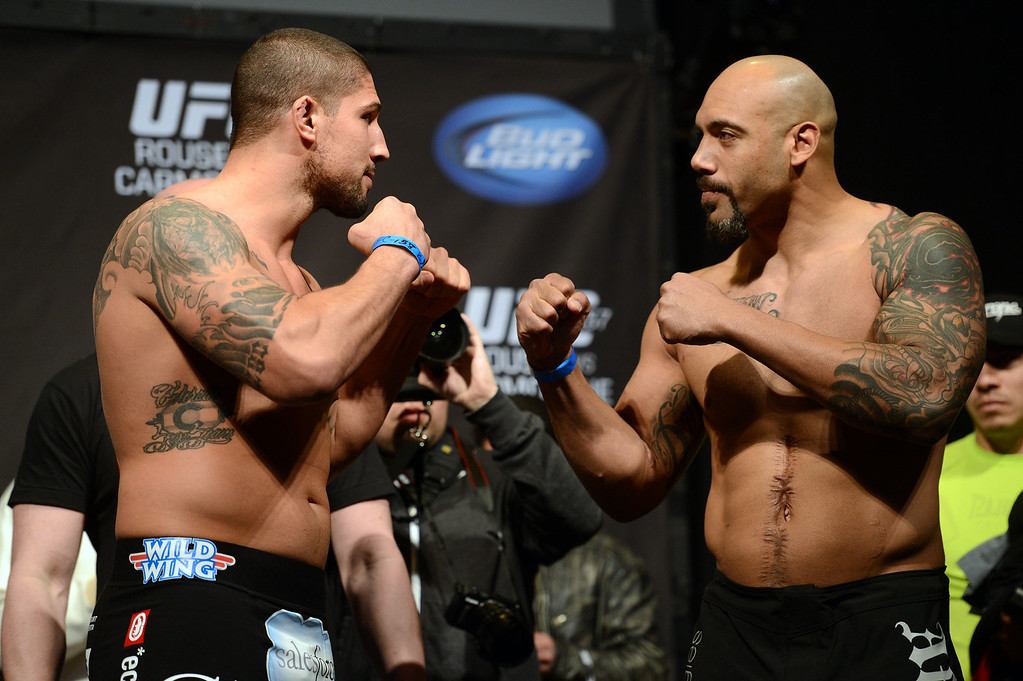 . UFC fighters Brendan Schaub and Lavar Johnson during weigh-ins for UFC 157 Rousey vs Carmouche at the Honda Center in Anaheim Friday, February  22, 2013.  (Hans Gutknecht/Staff Photographer)