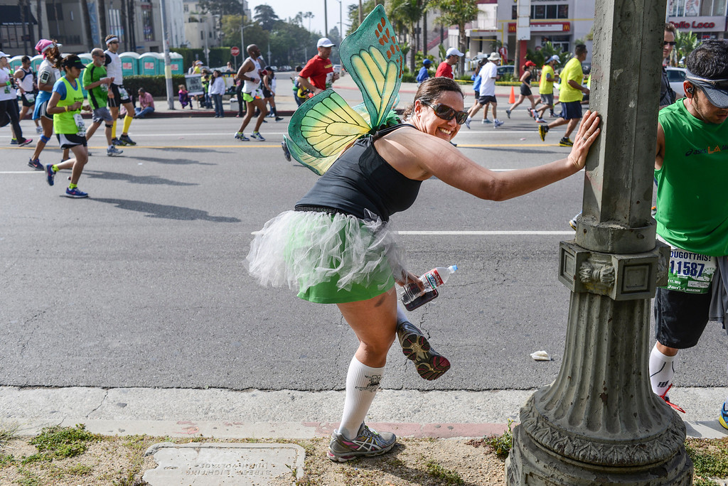 . A butterfly stops to cool down along Sunset blvd. in West Hollywood  during the 28th Los Angeles Marathon.  Photo by David Crane/Staff Photographer