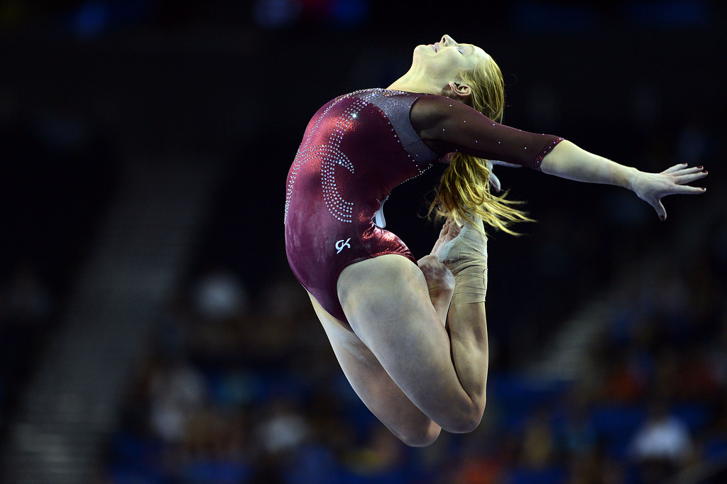 . Alabama\'s Ashley Priess on the balance beam during the NCAA 2013 Gymnastics Championships at UCLA\'s Pauley Pavilion Friday, April 19, 2013. (Hans Gutknecht/Staff Photographer)
