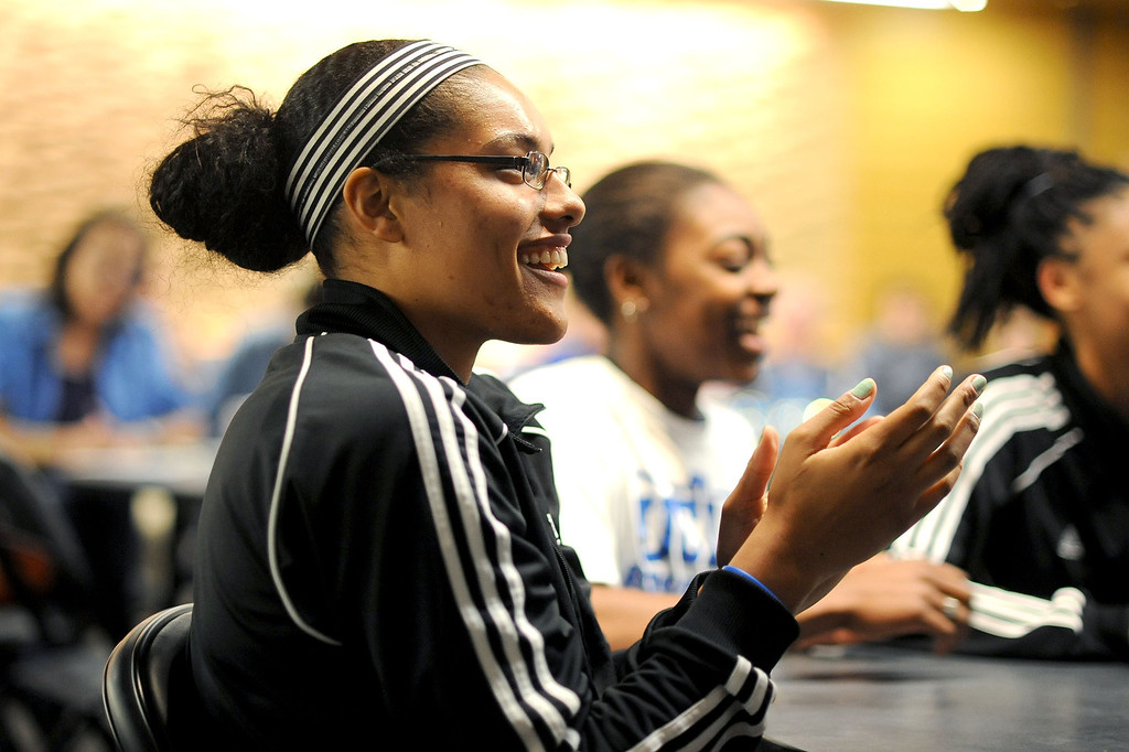 . Alyssia Brewer smiles after her team received the 3rd seed in the NCAA tournament during the NCAA Women\'s Basketball Selection Show Monday March 18, 2013 in Westwood, CA.(Andy Holzman/Los Angeles Daily News)