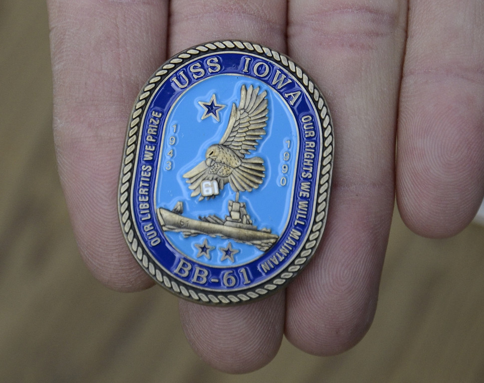 . SAN PEDRO, CALIF. USA -- A challenge coin given to visitors during the 70th. birthday celebration of the USS Iowa in San Pedro, Calif. on February 17, 2013. Photo by Jeff Gritchen / Los Angeles Newspaper Group