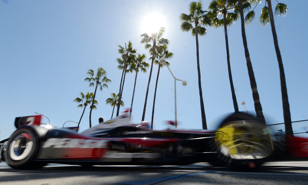. (Will Lester/Staff Photographer)  Indycar driver Will Power leaves the pits Friday morning April 19, 2013 at the 39th annual Toyota Grand Prix of Long Beach.