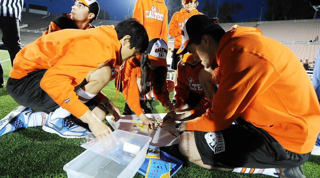 . Caltech student build their lego car prior to the race during the the 2013 Collegiate Field Tournament at the Rose Bowl on Friday, April 5, 2013 in Pasadena, Calif.  (Keith Birmingham Pasadena Star-News)