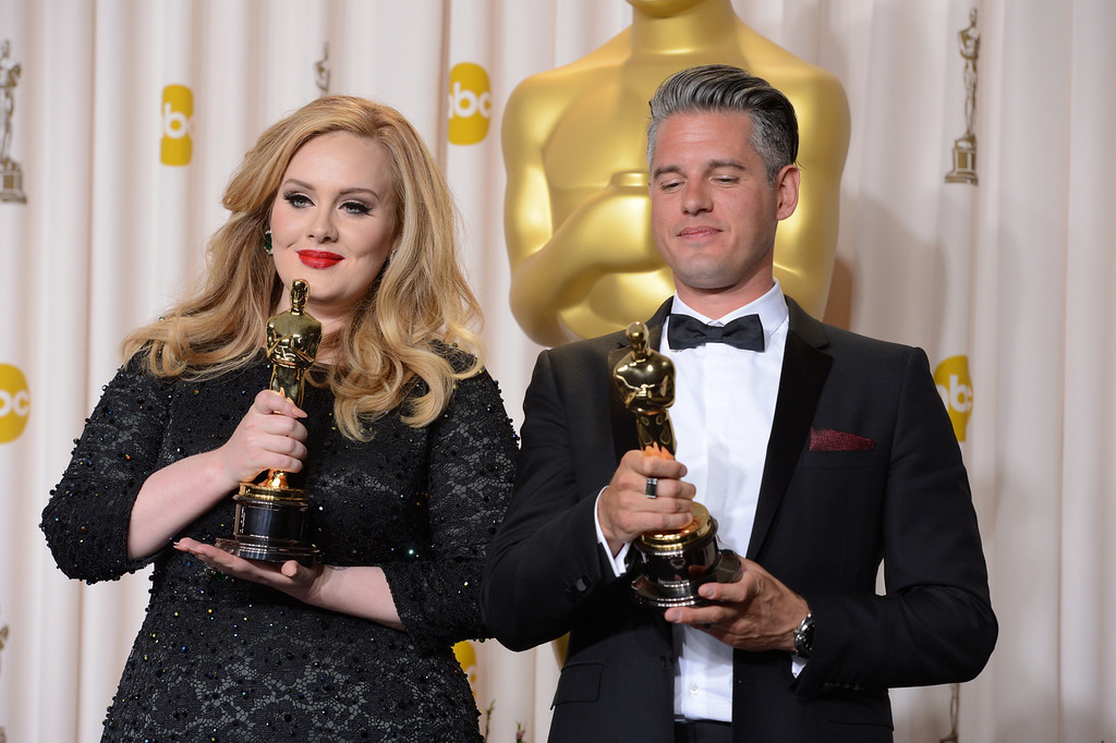 ". Singer Adele, left, and musician/producer Paul Epworth won the award for best original song for ""Skyfall\"" from \""Skyfall\""backstage at the 85th Academy Awards at the Dolby Theatre in Los Angeles, California on Sunday Feb. 24, 2013 ( David Crane, staff photographer)"