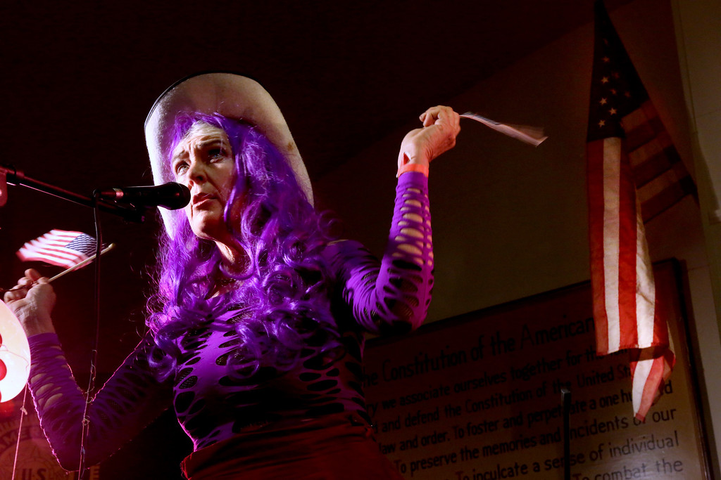 . One of the many Doo Dah Queen contestants entertains the judges and crowd at the tryouts for the Doo Dah Queen, held at the American Legion Bar in Pasadena on Sunday, April 7, 2013. (Photo by Nancy Newman / Pasadena Star-News Correspondent )