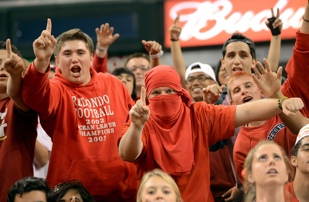 . Redondo Union fans cheer on their team during the Division II 2013 CIF State Basketball Championships at Sleep Train Arena, in Sacramento, Ca March 23, 2013.  Redondo won the game 54-47.(Andy Holzman/Los Angeles Daily News)
