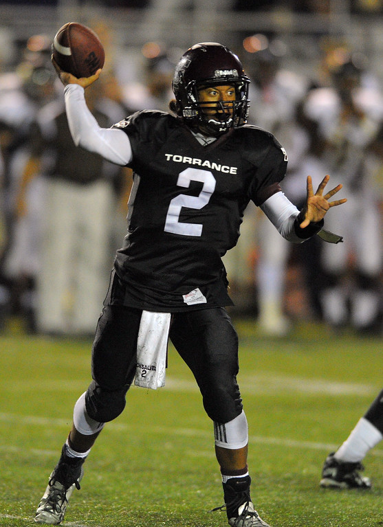 . West High takes on Torrance in a non league football game at Zamperini Stadium in Torrance, CA on Thursday, September 12, 2013. West won 46-7. Torrance QB Gabe Gonsalves. (Photo by Scott Varley, Daily Breeze)