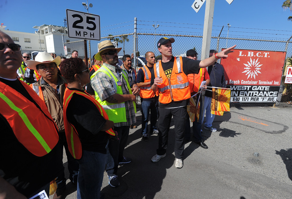 . Teamsters members organize their picket at the Long Beach Container Terminal in Long Beach, CA on Monday, April 28, 2014. Teamsters are planning a 48-hour strike at the ports of Long Beach and Los Angeles in support of truckers. (Photo by Scott Varley, Daily Breeze)