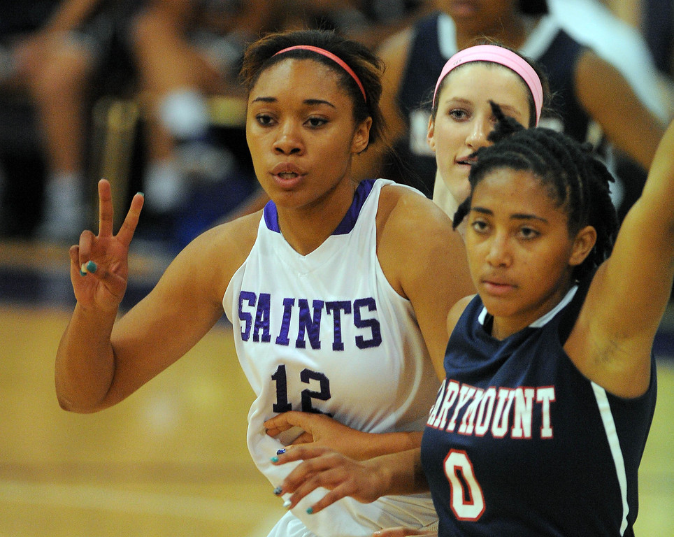 . LONG BEACH - 02/14/13 - (Photo: Scott Varley, Los Angeles Newspaper Group)  CIF-SS Div 4AA girls basketball playoff between Marymount Sailors and host St. Anthony Lady Saints. SA\'s Kendall Cooper, left, calls a play as she\'s guarded by Florence Turiaf. Earlier in the day, Cooper was named to the  2013 McDonald\'s All-American team.