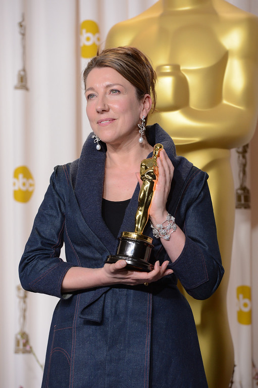 Description of . Jacqueline Durran accepts the award for best costume design for