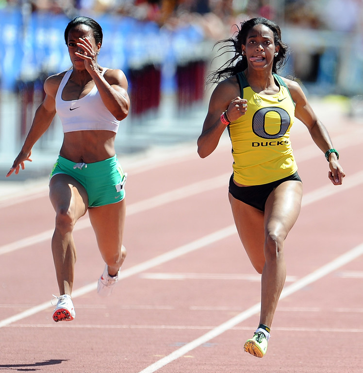 Description of . English Gardner of Oregon wins the 100 meter dash invitational elite during the Mt. SAC Relays in Hilmer Lodge Stadium on the campus of Mt. San Antonio College on Saturday, April 20, 2012 in Walnut, Calif.    (Keith Birmingham/Pasadena Star-News)