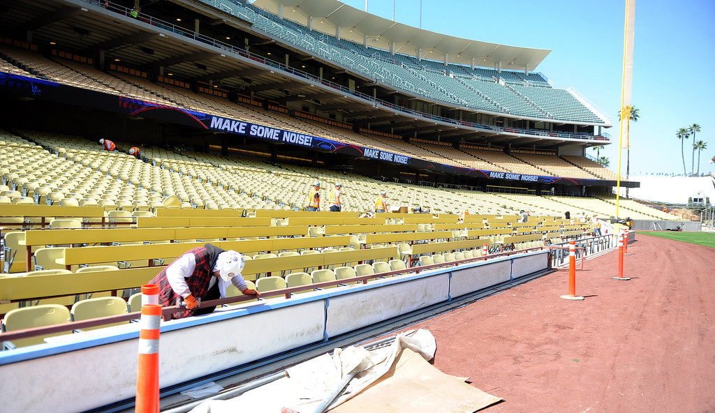 . Construction continues on the 51 year-old Dodger stadium that include new high definition video boards in left field and right field, new sound system, A state of the art wifi network and cellular system. The improvements will also have wider concourses and additional wheelchair access along with renovated restrooms and a new home team clubhouse and batting cages for both teams at Dodger Stadium on Thursday, March 21, 2013 in Los Angeles.   (Keith Birmingham/Pasadena Star-News)
