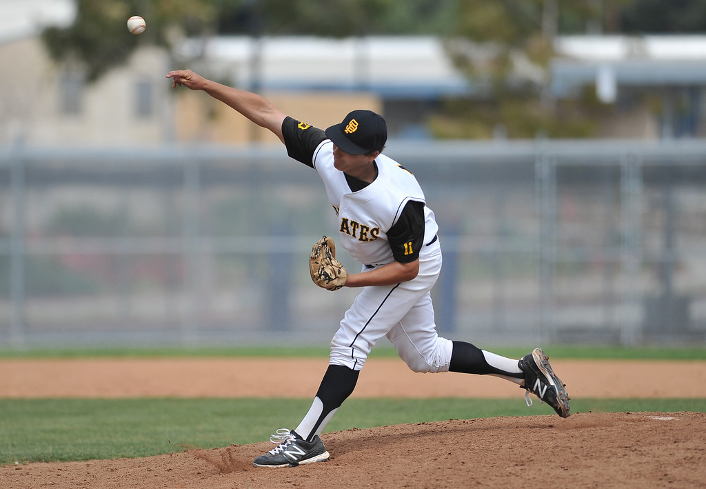 . 4/6/13 - James Dodd pitching for San Pedro High School against Arleta High School on Saturday morning at Harbor City College in a non-league game. Photo by Brittany Murray / Staff Photographer