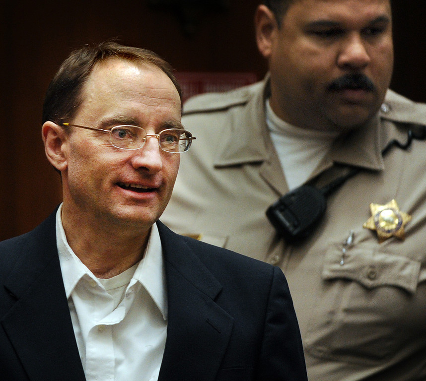 Description of . Christian Karl Gerhartsreiter, enters courtroom in his trial, at Clara Shortridge Foltz Criminal Justice Center in Los Angeles Monday, March 25, 2013.  A prosecutor told jurors Monday he will prove a cold-case murder allegation against the German immigrant who spent years moving through U.S. society under a series of aliases, most notoriously posing as a member of the fabled Rockefeller family. He has pleaded not guilty to the killing of John Sohus, 27, who disappeared with his wife, Linda, in 1985 while Gerhartsreiter, using an alias was a guest cottage tenant at the home of Sohus' mother, where the couple lived.(Photo by Walter Mancini, SGVN)