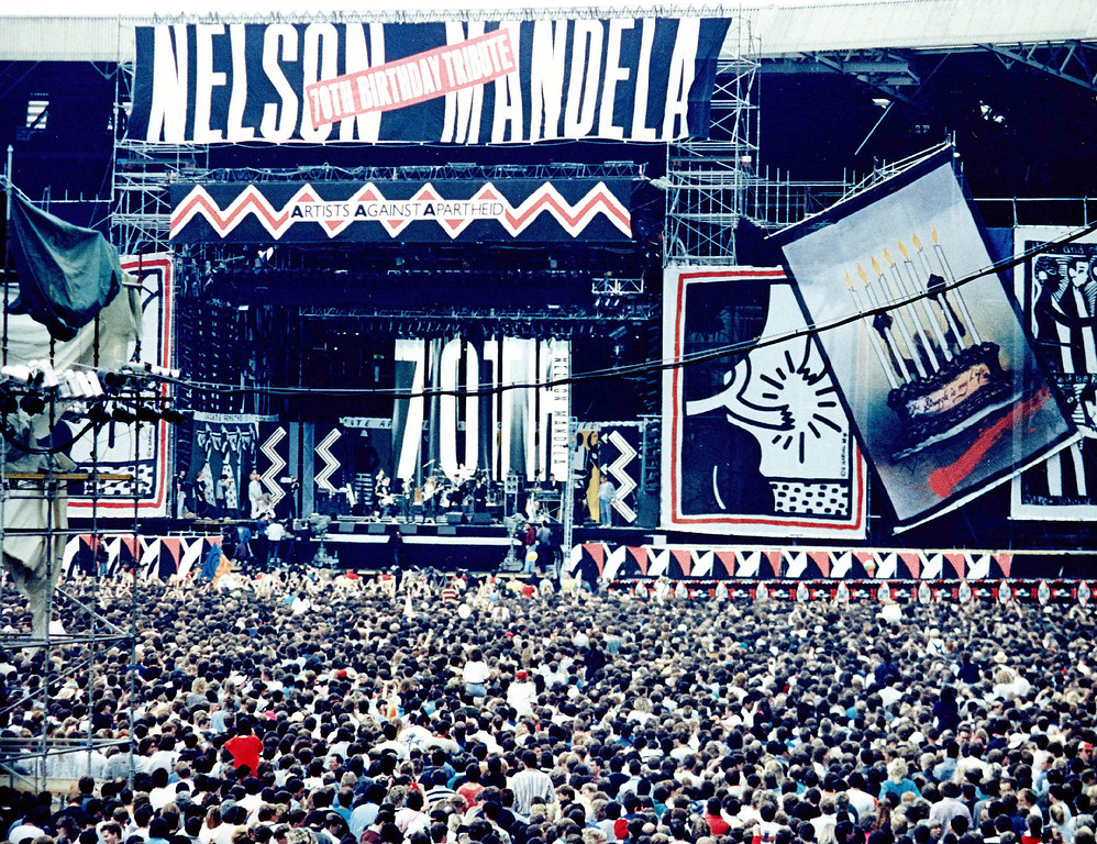 ". General view of the stage at Wembley Stadium, London, June 11, 1988, during  the performance of the band Eurythmics at the benefit concert for Nelson Mandela. The 10-hour-long concert ""Nelson Mandela, Freedom at 70\"" was watched by 70,000 fans in the stadium and was televised to 60 countries worldwide. (AP Photo/Str/Allen)"