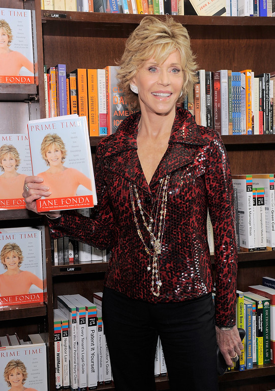". NEW YORK, NY - AUGUST 10:  Actress/author Jane Fonda poses for a photo as she promotes""Prime Time: Making The Most Of All Of Your Life\"" at Barnes & Noble Union Square on August 10, 2011 in New York City.  (Photo by Jemal Countess/Getty Images)"
