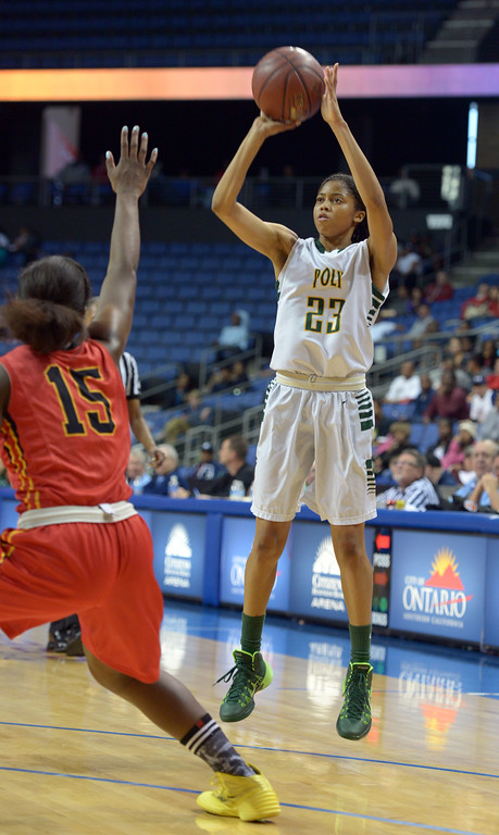 . Poly\'s Arica Carter scores on a 3-pointer at Citizens Business Bank Arena in Ontario, CA on Saturday, March 22, 2014. Long Beach Poly vs Etiwanda in the CIF girls open division regional final. 1st half, Photo by Scott Varley, Daily Breeze)