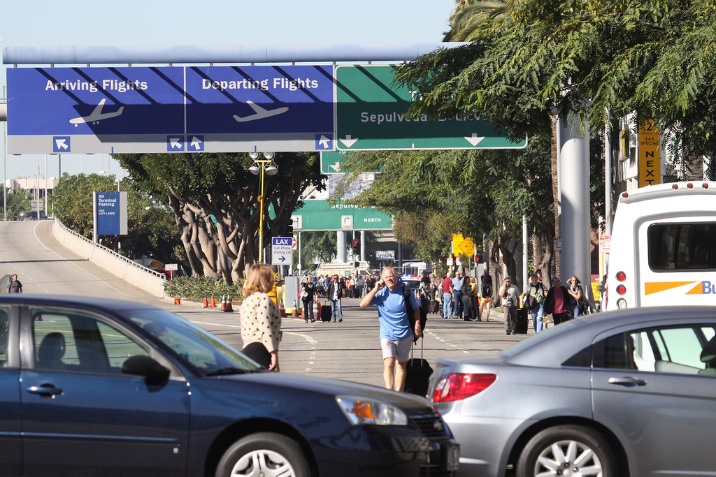 . Century Blvd before LAX is closed down after a shooting at Terminal 3 Friday Nov. 1 2013 Chuck Bennett/Staff Photographer