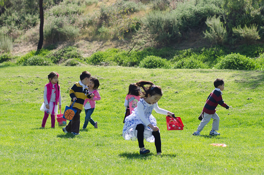 . A group of four and five-year-olds play with their Easter eggs at City of Diamond Bar\'s Easter Egg Hunt, hosted by the Diamond Bar Breakfast Lions Club at Pantera Park, in Diamond Bar, Calif., Saturday, March 30, 2013.Children were handed Easter eggs, prizes and candy were made available to children. (SGVN/Correspondent photo by Anibal Ortiz)