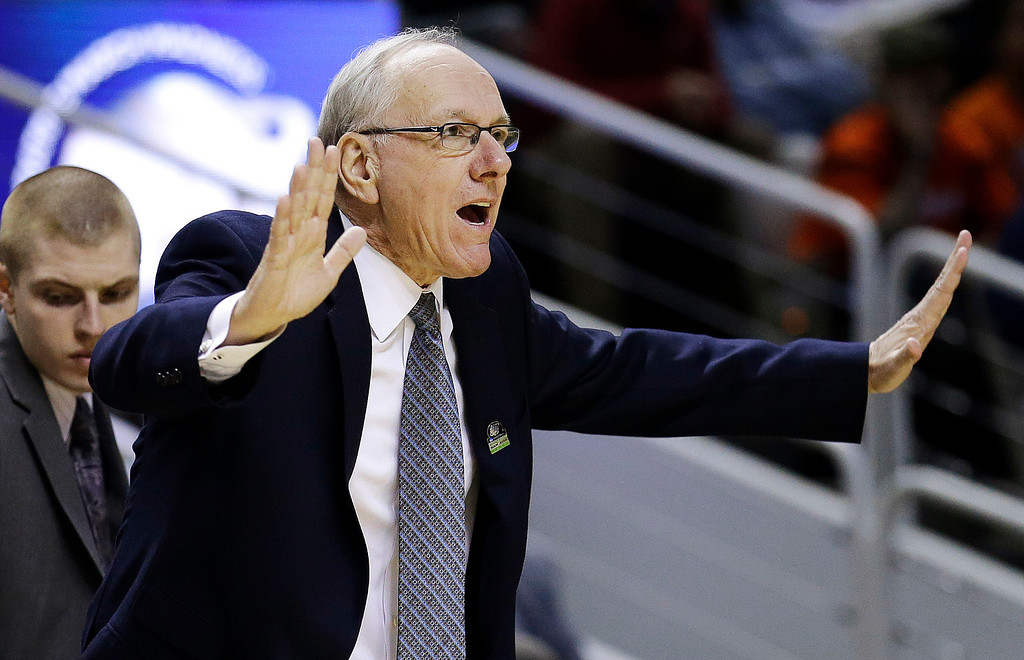 . Syracuse head coach Jim Boeheim gestures during the first half of a second-round game in the NCAA college basketball tournament against Montana in San Jose, Calif., Thursday, March 21, 2013. (AP Photo/Jeff Chiu)